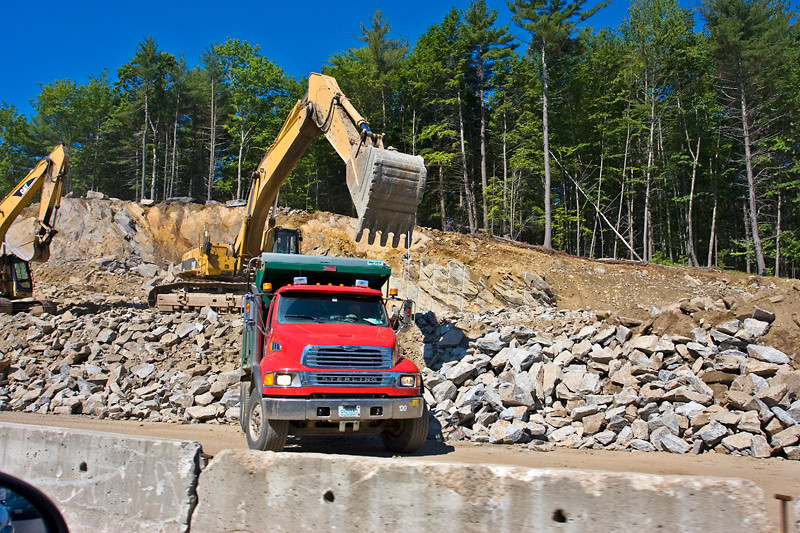 Construction Trucks widening route 16