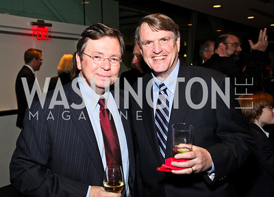 Photo by Tony Powell. Charles Lewis, Leonard Downie. The 20th Anniversary Celebration of The Center for  Public Integrity. Newseum. October 21, 2010