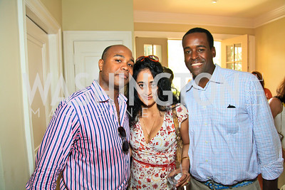 Emile Hill, Roshanak Ameli-Tehrani, Adam Hodge. Photo by Tony Powell. The Natural Resources Defense Council for a Green Scene Luncheon. Joe Lockhart's residence. May 2, 2010