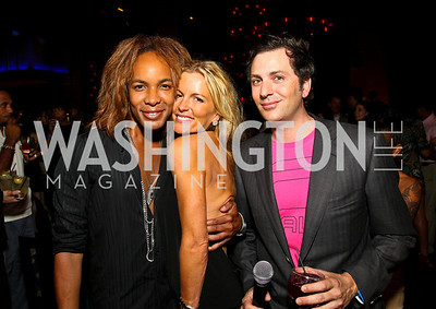 Photo by Tony Powell. Paul Wharton, Cat Ommanney, Michael Clements. The Real Housewives of DC Premiere Afterparty. Buddha Bar. August 5, 2010