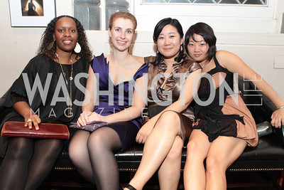 Photo by Alfredo Flores. Dominique Dieudonne, Sonja Glokle, Lynn Lee, Jee Seo . The Smithsonian Young Benefactors 20th Annual Jolly Holiday Party. December 3, 2010.