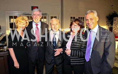 Tina Brown, Robert Hormats, Sir Harold Evans, Margaret Carlson, Rahm Emanuel. Photo by Tony Powell. The Week's Opinion Awards. W Hotel. April 20, 2010
