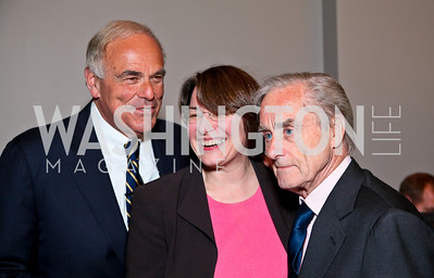 Pennsylvania Governor Edward Rendell, Minnesota Senator Amy Klobuchar, Sir Harold Evans. Photo by Tony Powell. The Week's Opinion Awards. W Hotel. April 20, 2010