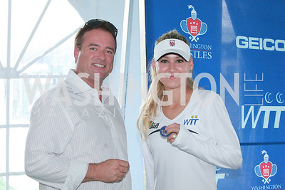 Chris Thompson, Anna Kournikova. Photo by Alfredo Flores. VIP Reception with Anna Kournikova at Washington Kastles Stadium.