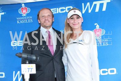Mark Ein, Anna Kournikova. Photo by Alfredo Flores. VIP Reception with Anna Kournikova at Washington Kastles Stadium.