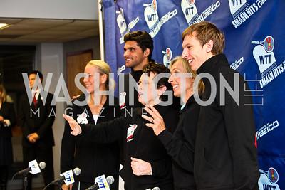 Photo by Tony Powell. Rennae Stubbs, Mark Philippoussis, Billie Jean King, Martina Navratilova, Eric Butorac. WTT VIP Reception with Elton John. Bender Arena. November 15, 2010