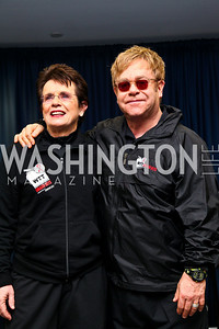 Photo by Tony Powell. Billie Jean King, Sir Elton John. WTT VIP Reception with Elton John. Bender Arena. November 15, 2010
