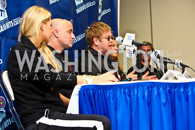 Photo by Tony Powell. Anna Kournikova, Andre Agassi, Sir Elton John, Steffi Graf, Jan-Michael Gambill. WTT VIP Reception with Elton John. Bender Arena. November 15, 2010