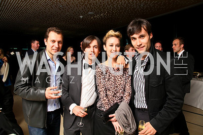 Max Karasik, Valentino X, Sylvia Gravitt, Flavius Mihaies. Photo by Tony Powell. 2010 Jete Society Dance Party. House of Sweden. April 23, 2010