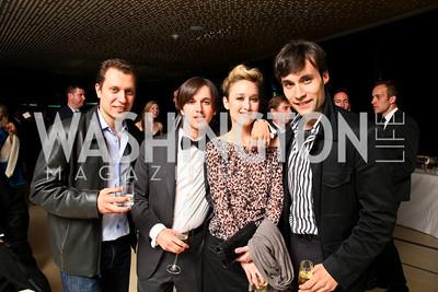 Max Karasik, Valentino X, Sylvia Gravitt, Flavius Mihaies. Photo by Tony Powell. 2010 Jete Society Dance Party. House of Sweden. April 23, 2010