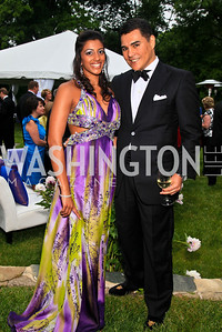 Almina Khorakiwala, Xavier Equihua. Photo by Tony Powell. The Purple Rain Ball. Swedish Ambassador's residence. May 13, 2010
