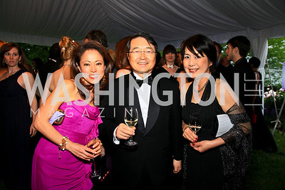 Shigeko Bork, Toyota North America president Sumio Ohtsuji and Hiroko Ohtsuji. Photo by Tony Powell. The Purple Rain Ball. Swedish Ambassador's residence. May 13, 2010
