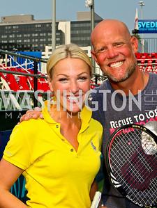 Photo by Tony Powell. NBC-4 Sports Anchor Lindsay Czarniak, Kastles Coach Murphy Jensen. Kastles VIP Reception. Kastles Stadium. July 7, 2010