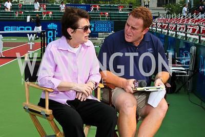 Photo by Tony Powell. Billie Jean King, Dave Feldman. Kastles VIP Reception. Kastles Stadium. July 7, 2010