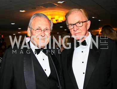 Donald Rumsfeld, John McLaughlin. Photo by Tony Powell. WHCAD pre-parties. Hilton Hotel. May 1, 2010