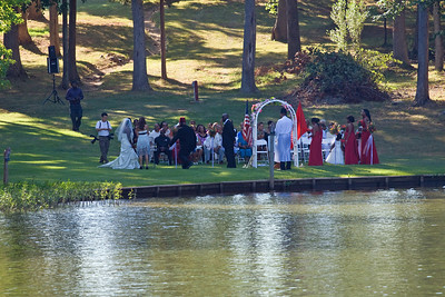 A wedding was taking place in the park across from Uncle Pat's house.