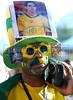 A Brazilian fan reacts during the South Africa 2010 World Cup soccer match between Brazil and North Korea on Copacabana beach, Rio de Janeiro, Brazil, June 15, 2010 (AustralFoto/Renzo Gostoli)