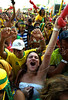 Fans celebrate the Brazil's first goal against Ivory Coast during a South Africa 2010 World Cup soccer match, while watching the game on a giant screen at Copacabana beach, Rio de Janeiro, Brazil, June 20, 2010 (Austral Foto/Renzo Gostoli)