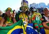 Brazilian fans reacts during the South Africa 2010 World Cup soccer match between Brazil and North Korea on Copacabana beach, Rio de Janeiro, Brazil, June 15, 2010 (AustralFoto/Renzo Gostoli)