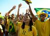 Brazilian fans react during the South Africa 2010 World Cup soccer match between Brazil and North Korea on Copacabana beach, Rio de Janeiro, Brazil, June 15, 2010 (AustralFoto/Renzo Gostoli)