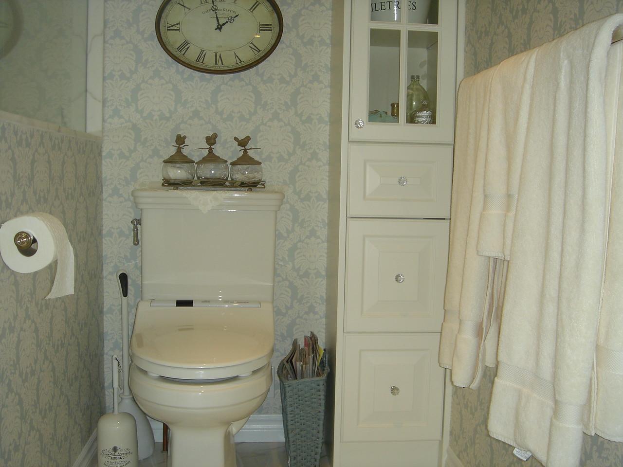 "The ""water closet"" :) & corner cabinet"