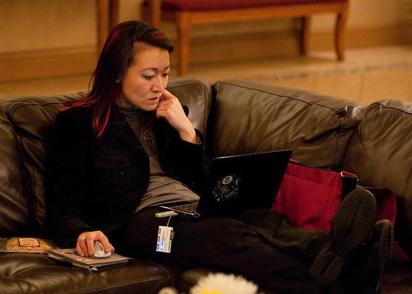 Sammy Diepp taking advantage of wifi internet in the hotel lobby