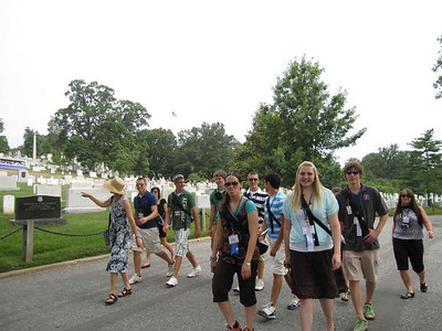 Walking through Arlington Cemetery.