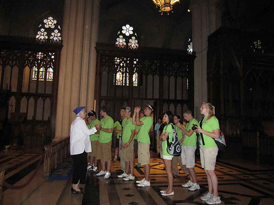 A docent-led tour at the National Cathedral.