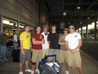 Marcus, Luke, Tyler, Will, Dylan and Jake at the airport.