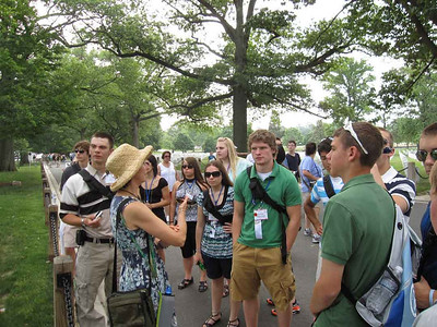 Tour guide Linda Mason talking to the group at Arlington Cemetery.