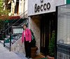 Celeste stands before 'Becco', a Lidia restaurant and one of our favorites