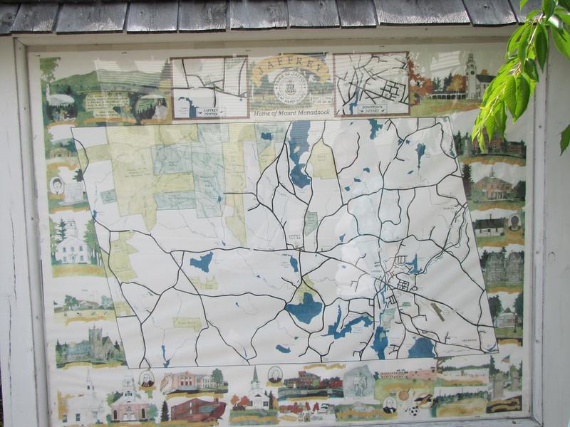 Hand drawn map of Jaffrey, NH historical landmarks.