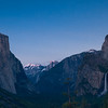 Famed Tunnel View.   On your left is El Capitan(3000 feet of sheer cliff), On right is the bridal veil fall.   And kinda hidden in the middle is the Half Dome.  The sunset was kinda boring due to sky is too clear.  You can see a slight alpine glow at Half Dome.