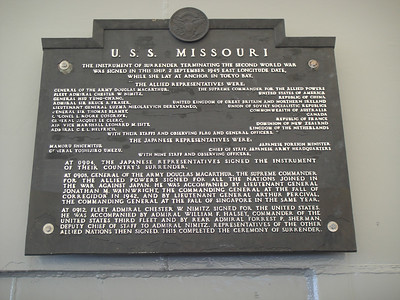 USS Missouri Japanese Surrender Artifacts