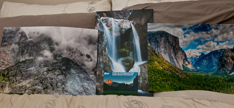 "Here you can see the photos and canvas board that I printed.   I was very pleased with the prints from Bay Labs. The color and detail on everything looked great! I'll break down my thoughts on each of the prints though:  Left: Waterfall down granite rocks -- The print on this came out great, all the colors and detail were super crisp, sharp and vibrant. However, the large print really does highlight the fact that there's a lot in this photo, and no real subject. I wanted the waterfall to draw the eye through the photo but it's just a bit too small.  Center: Bridalveil Falls, Canvas board. I was pleased with the canvas print, however, I was really disappointed in this one. This was apparently NOT the right photo to print on canvas as there is a lot of really small details in this photo that just did not come out well on the canvas texture. Oh well, at least now I know.  Right: For the most part, I think this print came out great! In many places, it was better than expected. However, the one thing that turns this print into a ""waste"" (almost) is the center of the photo where everything got *really* blue. I went back to my original photo and it's also REALLY blue. It brought out the little imperfections in my photo and I'm going to have to go back and re-edit the photo to remove the blueness. I'll have to reprint it when I get the new version done. Oh well.  Center, bottom: I think my thank you photo came out the best of everything!"