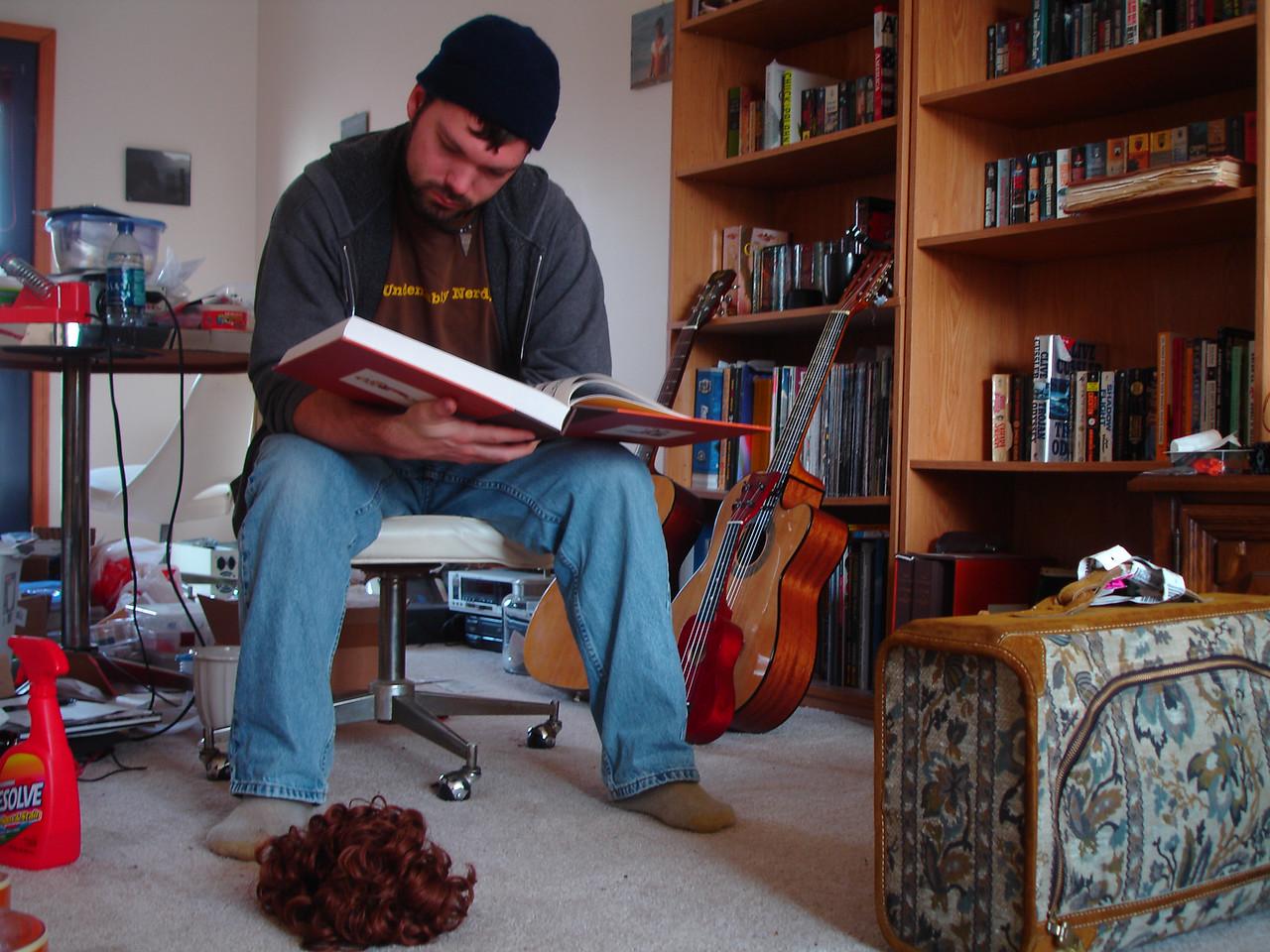Steve studies up on his Calvin & Hobbes