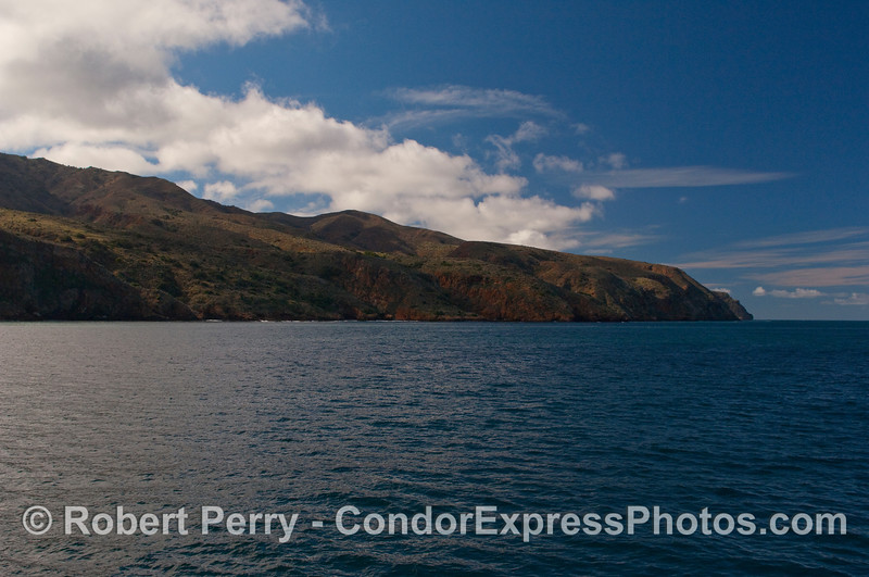 Looking west toward Profile Point (the farthest point to the right side), Santa Cruz Island in January.