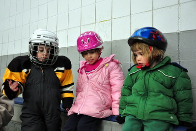 Jacob, Anya and Cailyn taking a break from Ice Skating