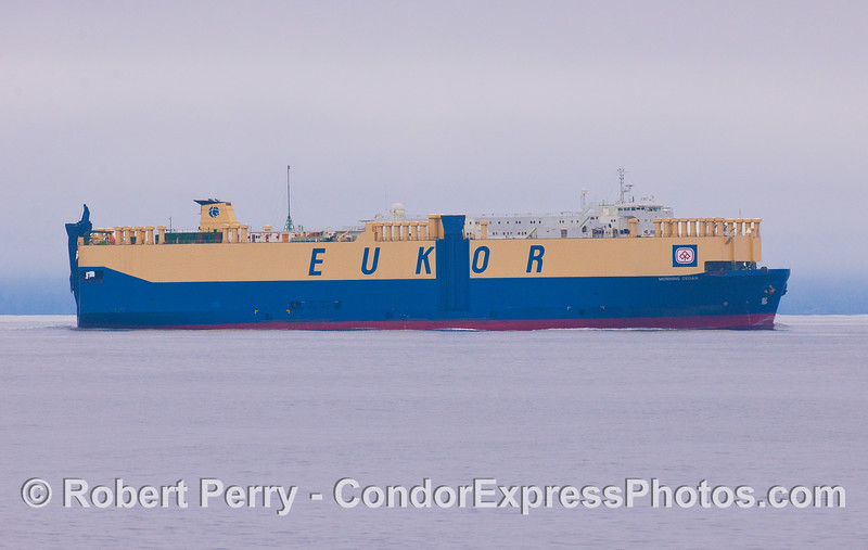 "The car carrying vessel ""Morning Cedar"" is seen westbound in the Santa Barbara Channel having departed Port Hueneme."