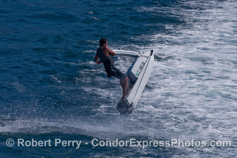 Nick jumps the Condor Express wake on the way out of the Harbor.