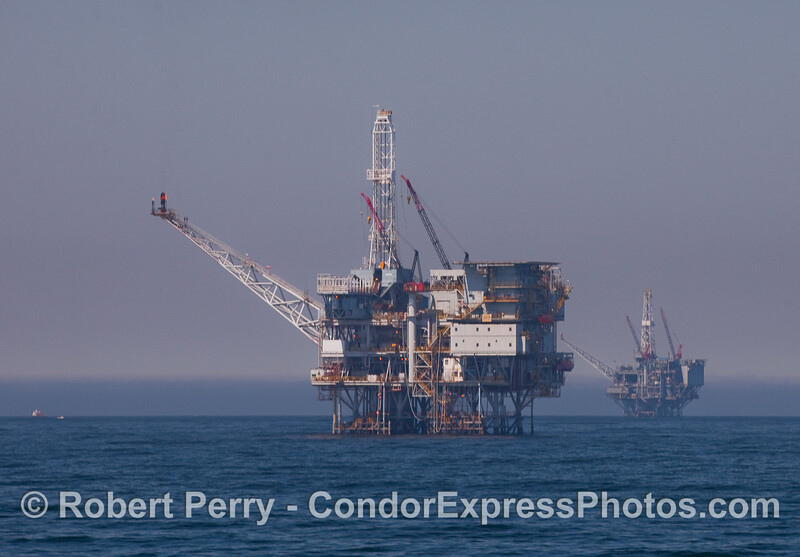Oil platforms near Gaviota:  Platform Hondo in front, and Harmony in back.