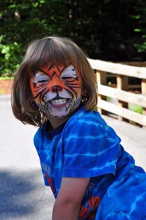 Anya painted like a tiger at Story Land