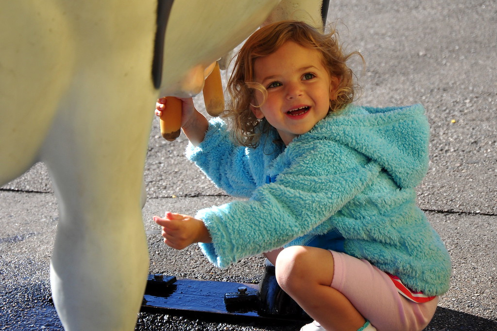 Amelia milking the cow at Story Land