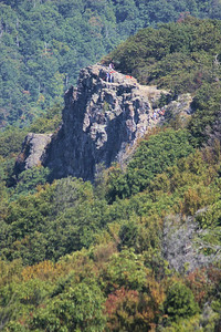 Folks on Little Stony Man, rock climbing