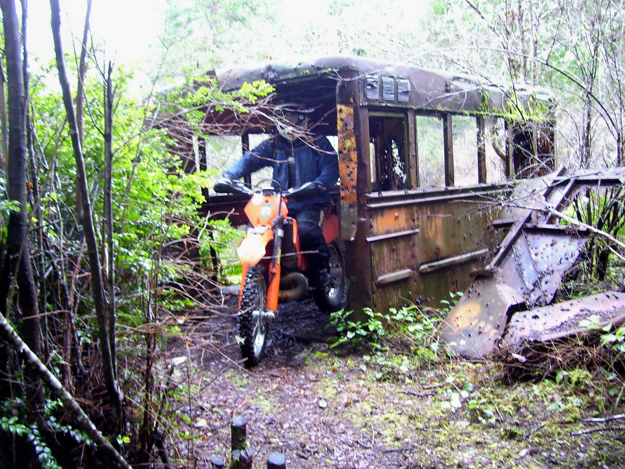 """Marc in the """"School Bus"""". It's actually one of the Buses they hauled the Youth Camp Inmates to the work projects such as building these trails."""