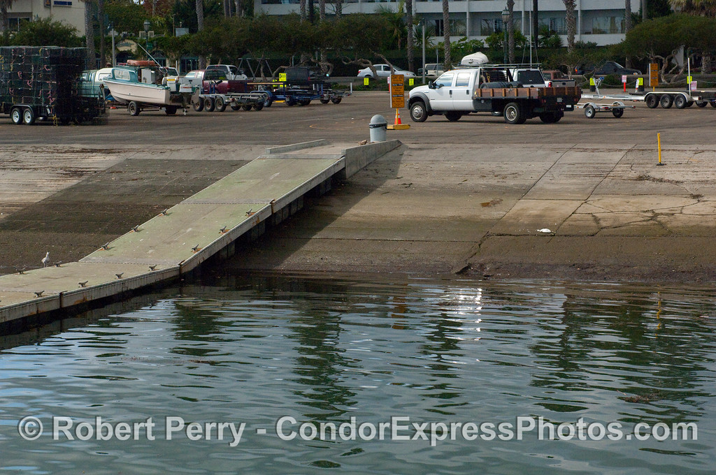 Photograph of Low Tide (-1.0 ft) at the boat launching ramp, Santa Barbara Harbor.