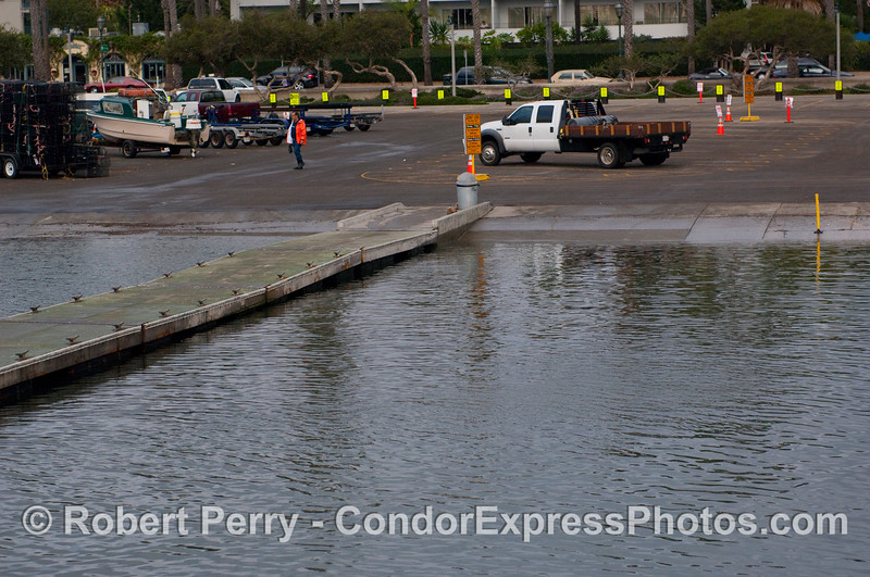 Photograph of High Tide (+7.0 ft) at the boat launching ramp, Santa Barbara Harbor.