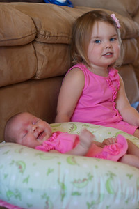 Pretty in Pink - the girls showing off the dresses Aunt June gave them!