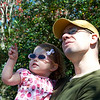 Anna and daddy watching the orangutan put on a show.