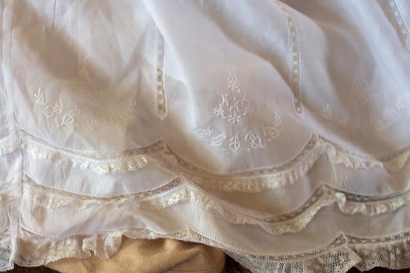 Pretty details on Ellen's baptism gown